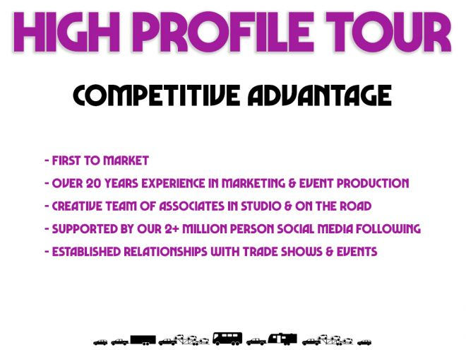 high profile tour pitch deck competitive advantage