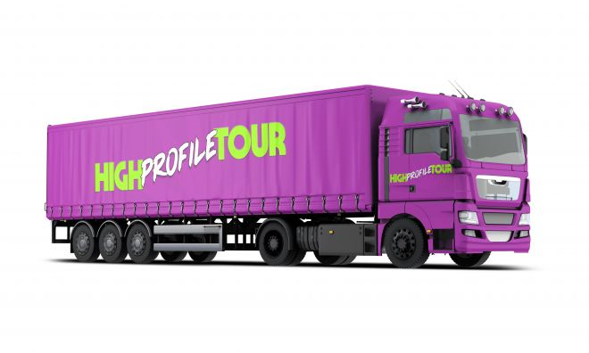 high profile tour pitch deck semi truck mock up mockup