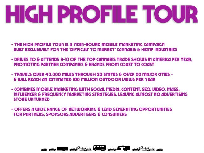 high profile tour pitch deck product page