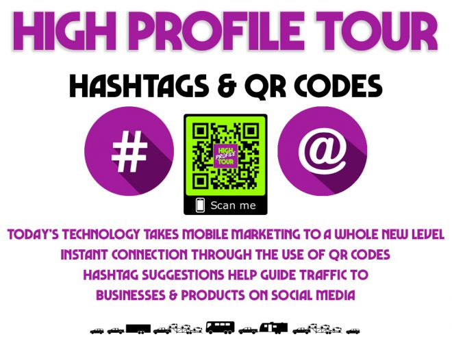 high profile tour pitch deck hashtags and qr codes