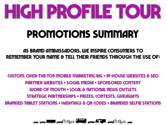 high profile tour pitch deck promotions summary