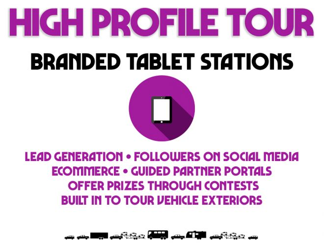 high profile tour pitch deck branded tablet stations